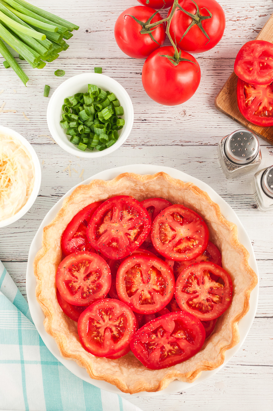 early steps of tomato pie preparation