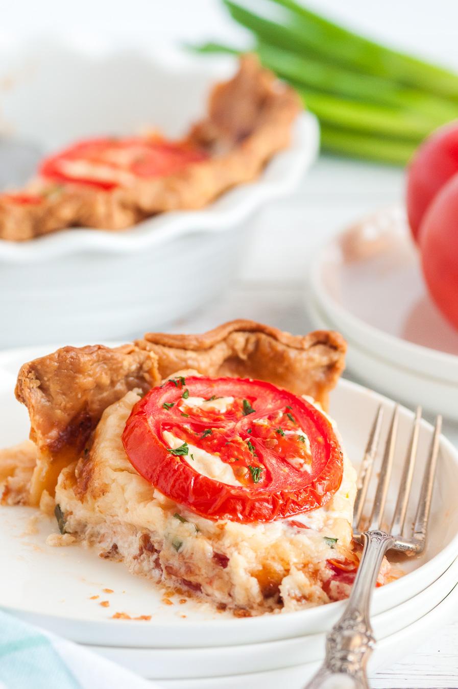 slice of tomato pie on a dish