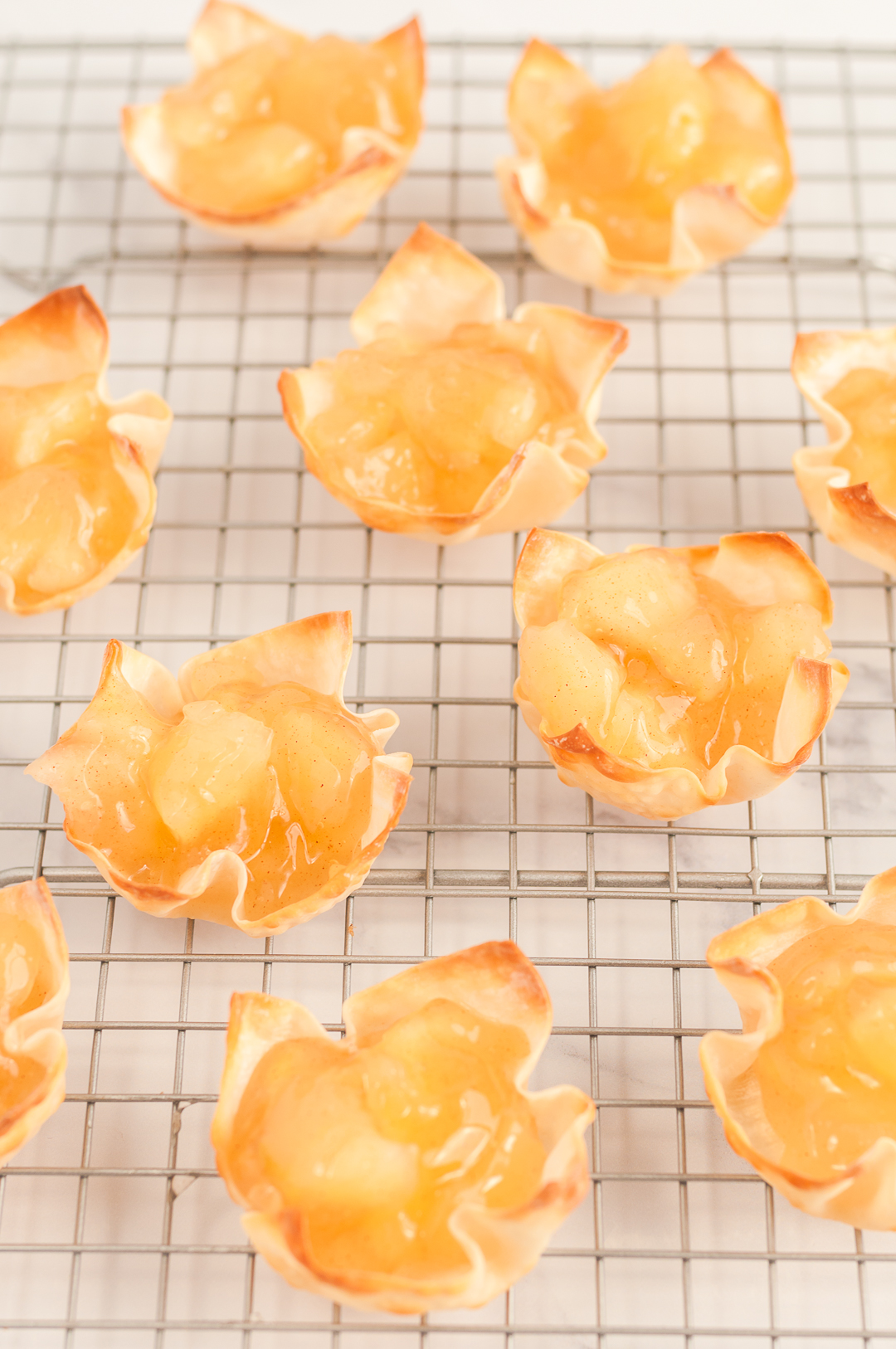 Mini Pies in Wonton Wrappers with Apple Pie Filling inside