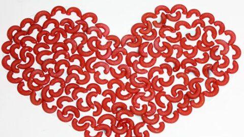 Pasta Valentine's Heart Craft for Kids