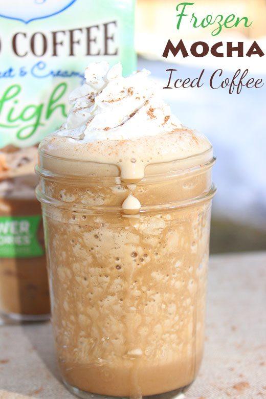 Frozen Mocha Iced Coffee #LightIcedCoffee #cbias #Recipe