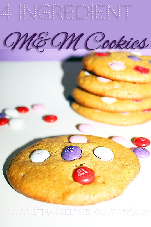4 Ingredient M&M Cookies #Recipe #Desserts
