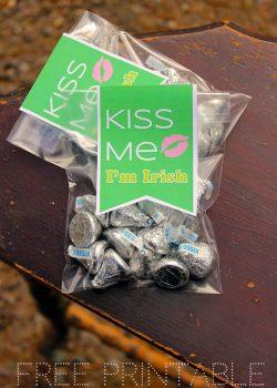 "Printable St. Patrick's Day Gift Tag ""Kiss Me, I'm Irish"""