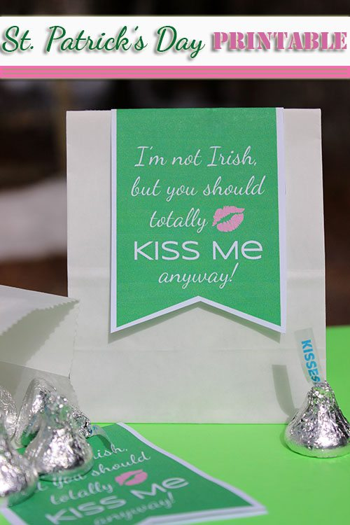 """Printable St. Patrick's Day Gift Tag """"I'm Not Irish, but You Should Totally Kiss Me Anyway"""