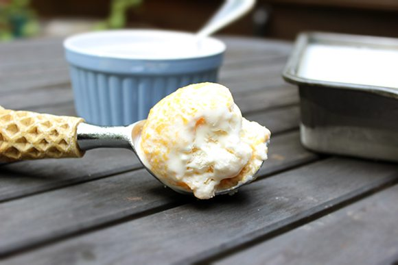 3 Can Peach Ice Cream #Recipe #CansGetYouCooking #Spon