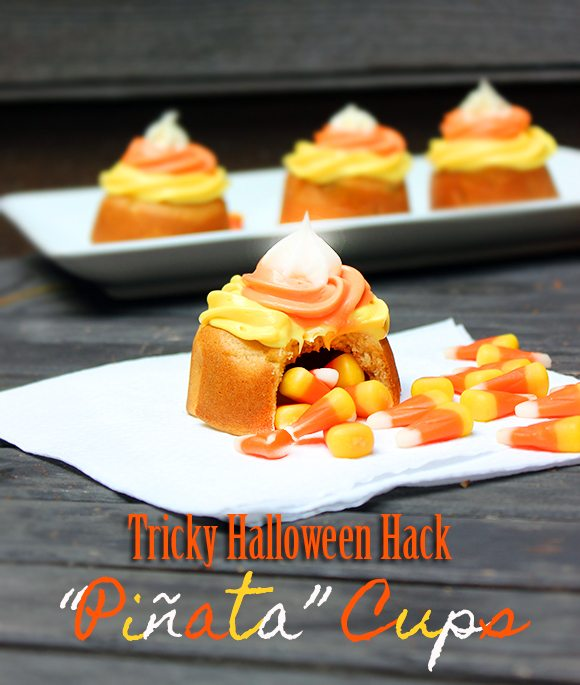 Easy Halloween Recipes. You won't believe what these Piñata cups are made with! #Halloween #HalloweenRecipes