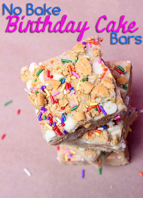 No Bake Birthday Cake Bars Cutefetti