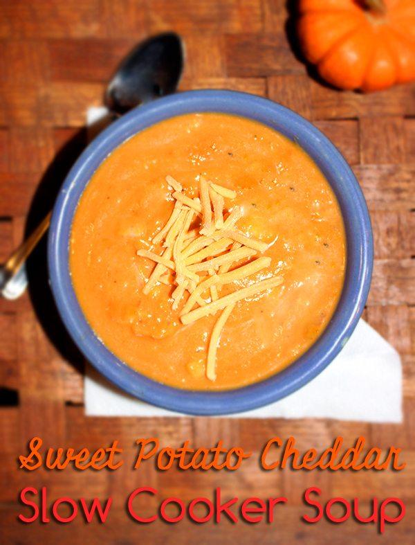 Sweet Potato Cheddar Slow Cooker Soup #Crocktoberfest2013