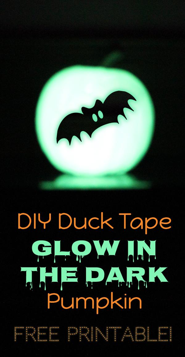 glow in the dark halloween pumpkin with duck tape