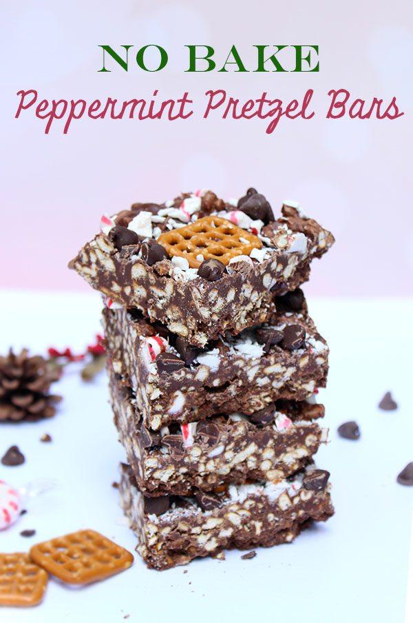 No Bake Peppermint Pretzel Bars #recipe