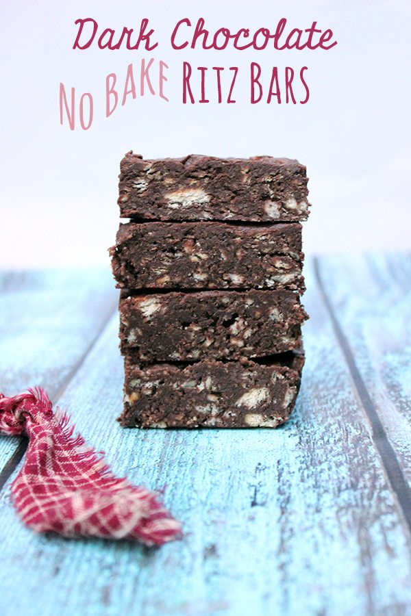 No Bake Dark Chocolate Ritz Bars with only 3 ingredients!