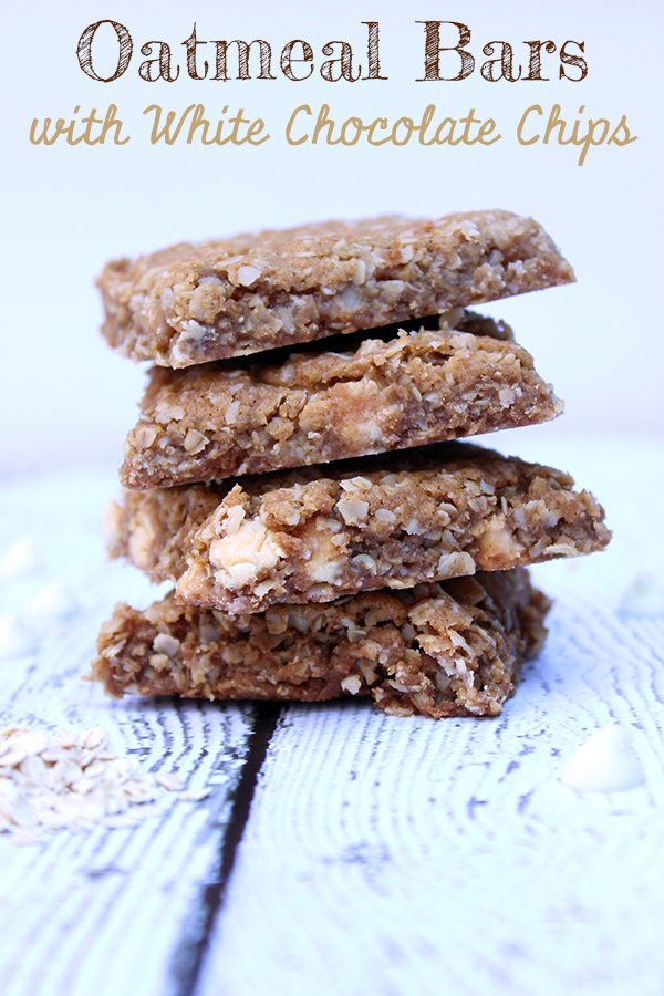 Oatmeal Bars with White Chocolate Chips #desserts #bars