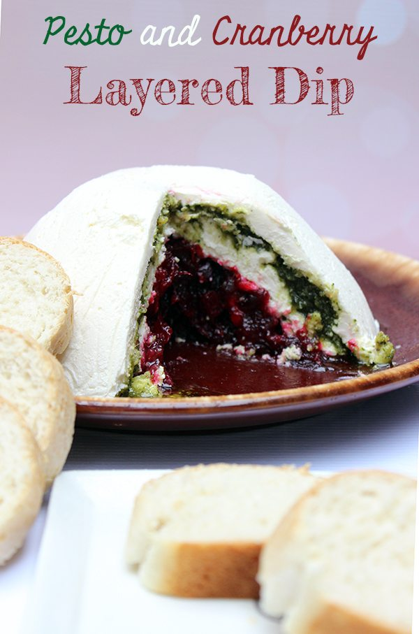 Pesto and Cranberry Layered Dip #recipe #HolidayAdvantEdge #shop #cbias