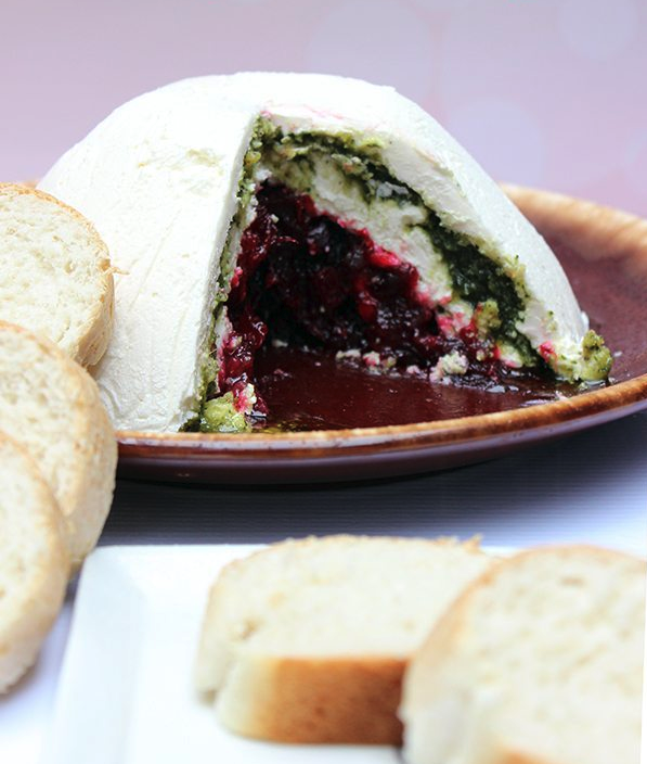 Pesto Cranberry Dip. Delish Holiday Appetizer.
