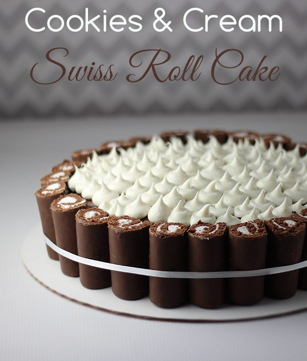 Easy Swiss Roll Cookies and Cream Cake. Professional looking cake for under $15!