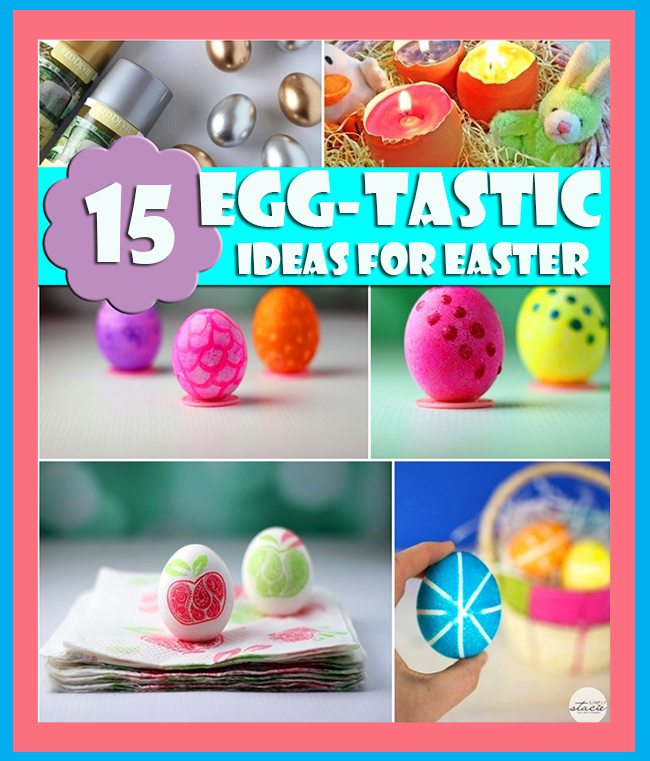 Neato! Egg-Tastic Ideas for Easter. Napkin Decoupage, Polka Dots to Colored Eggs with Rubberbands. #Easter