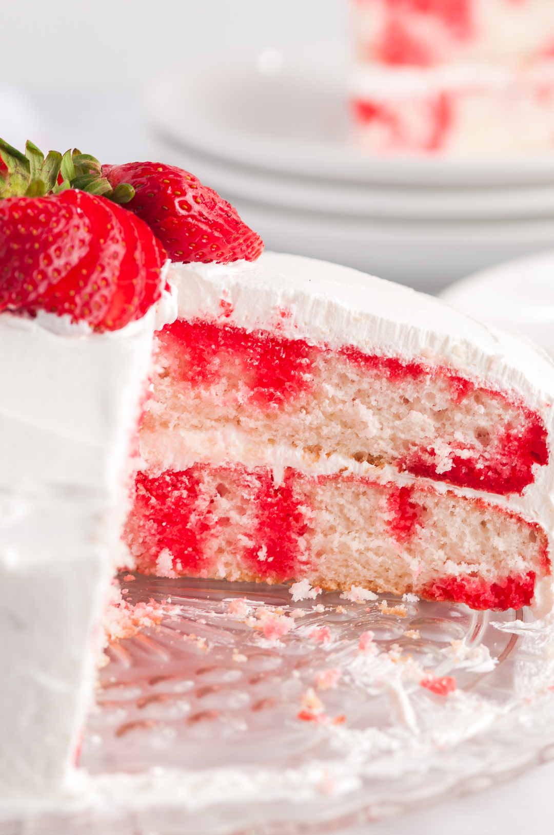 inside look at strawberry poke cake