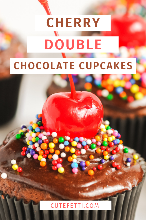 YUM. Easy chocolate goodness! Double chocolate cupcakes with cherry filling.