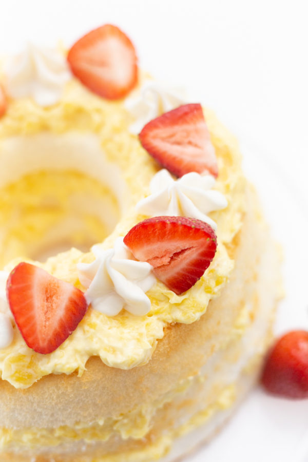 Pineapple Layered Cake Topped with Strawberries.