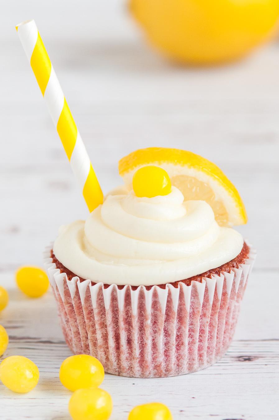lemonade cupcake with lemonhead garnish