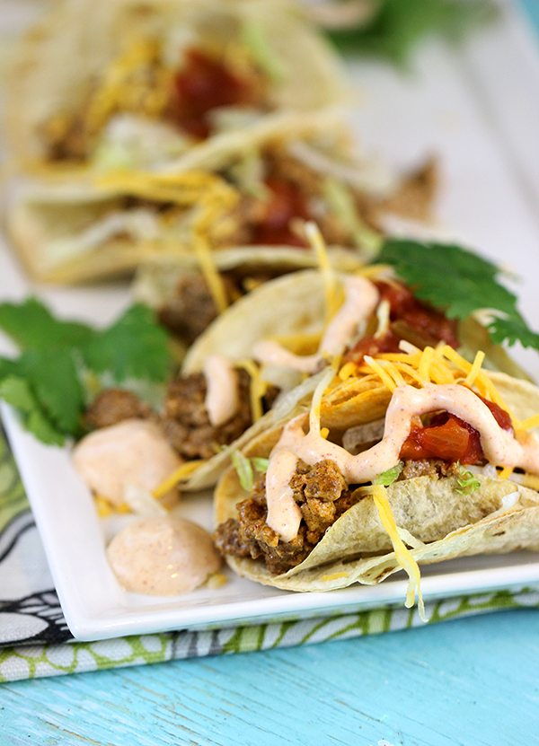 Easy weeknight mini tacos with creamy flavor packed meat filling.