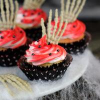 Undead Skeleton Hand Cupcakes