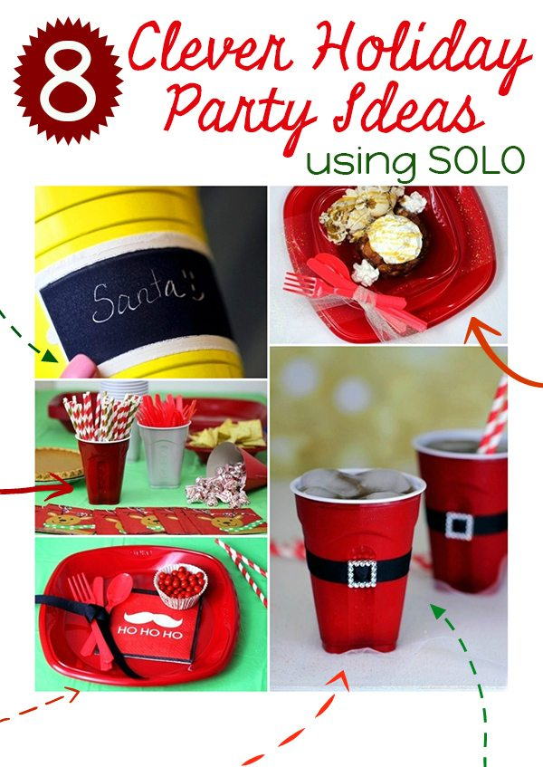 clever party ideas using SOLO products. I LOVE the Santa belt idea.