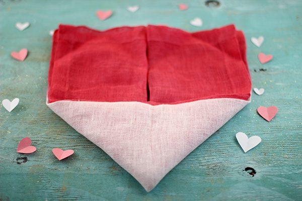 cloth heart shaped napkin