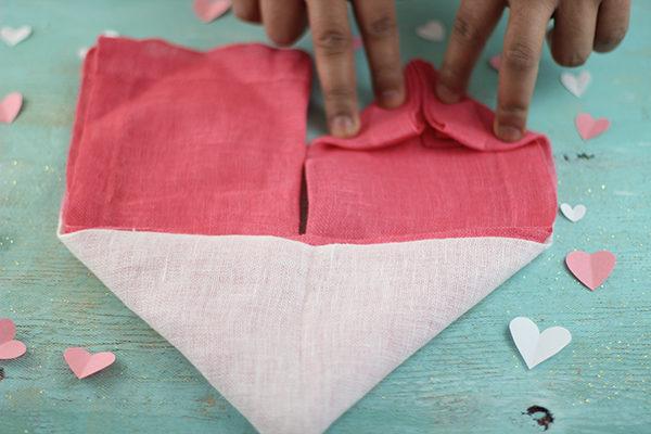 linen heart napkin