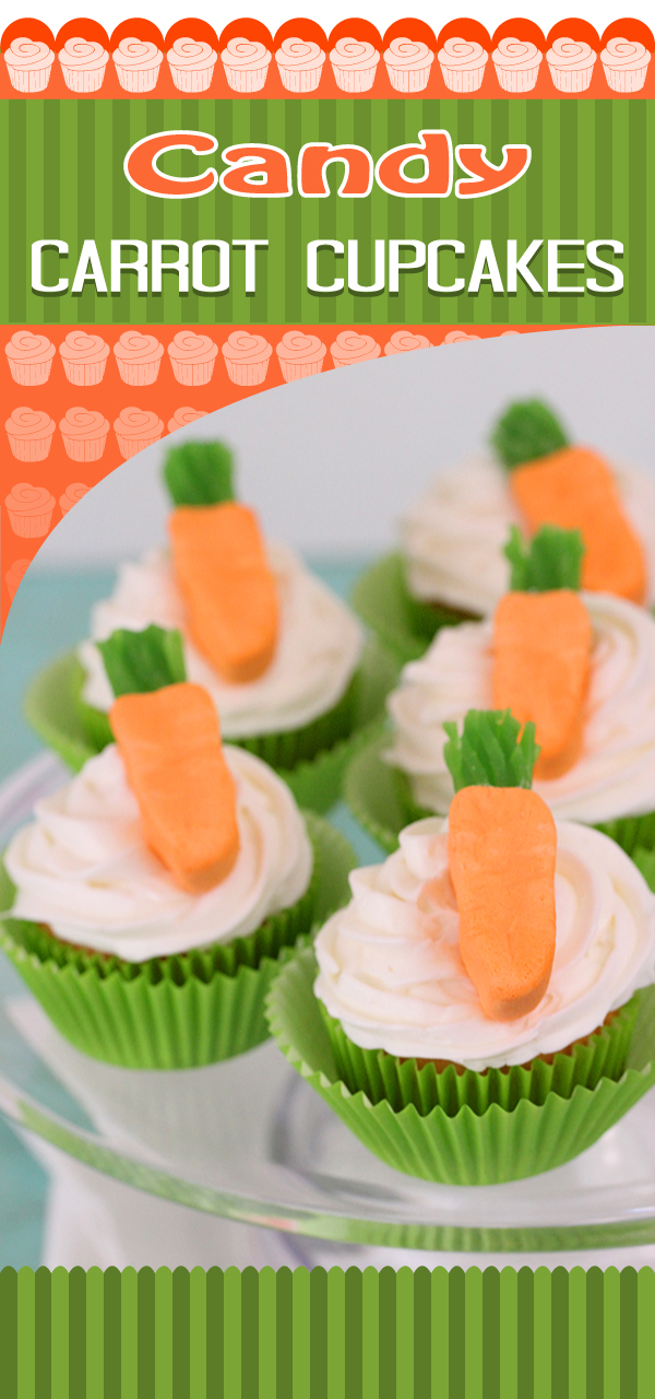Make Candy Carrot Cupcakes with Circus Peanuts & Green Licorice