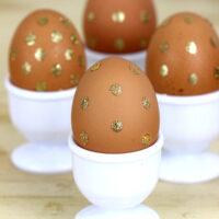 Try Something New: Polka Dot Gold Glitter Eggs