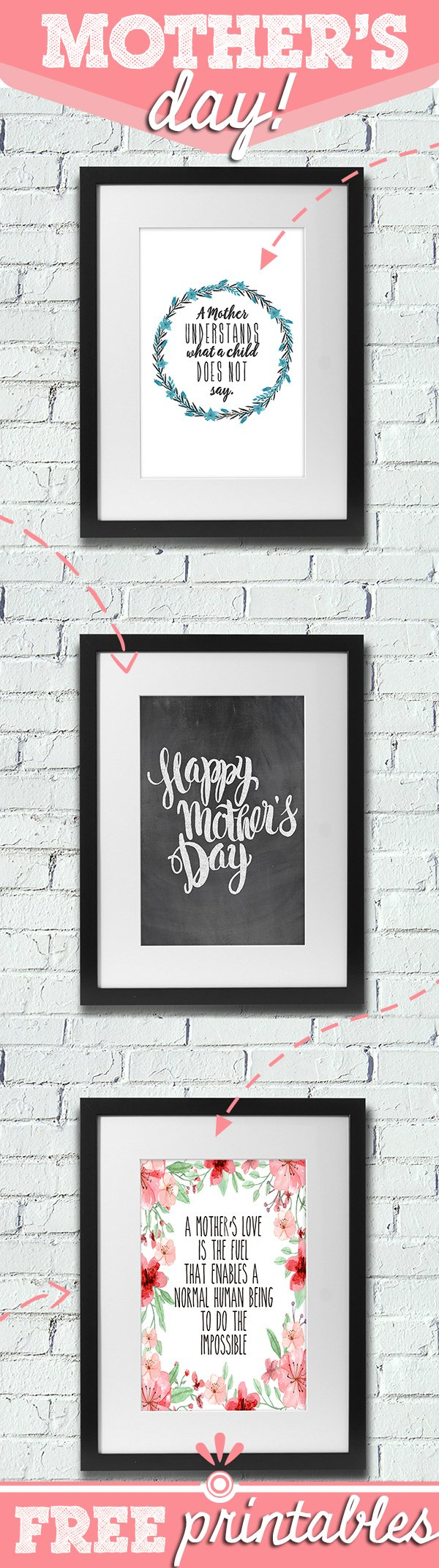 Totally budget friendly way to show mom you care! Choice of three cute and personal printables to choose from. Add a dollar store frame and your're golden! #MothersDay #FreePrintables