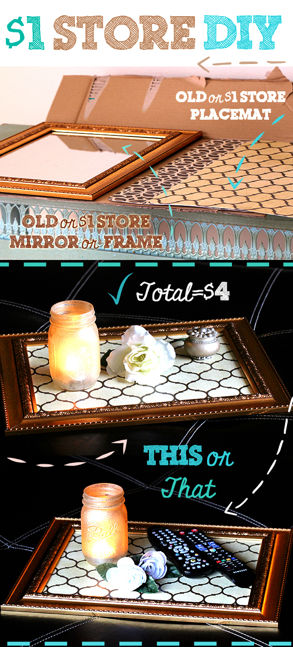 Make a cute serving tray for display. I used mine in my living room! Total cost $4 but could be even cheaper if you have a frame or framed mirror to upcycle. #PinterestRemakes