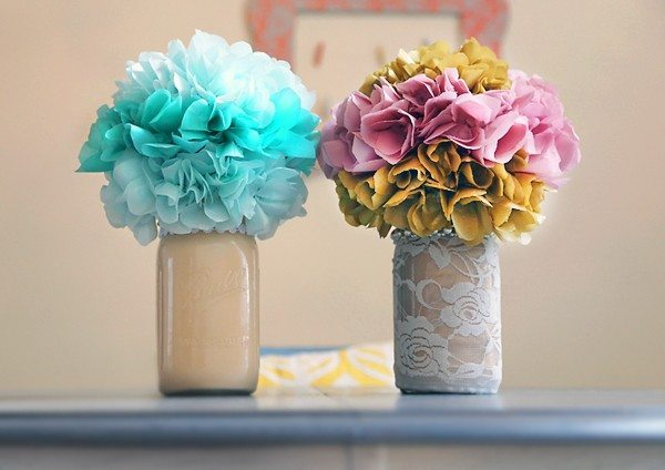mason jar tissue flowers