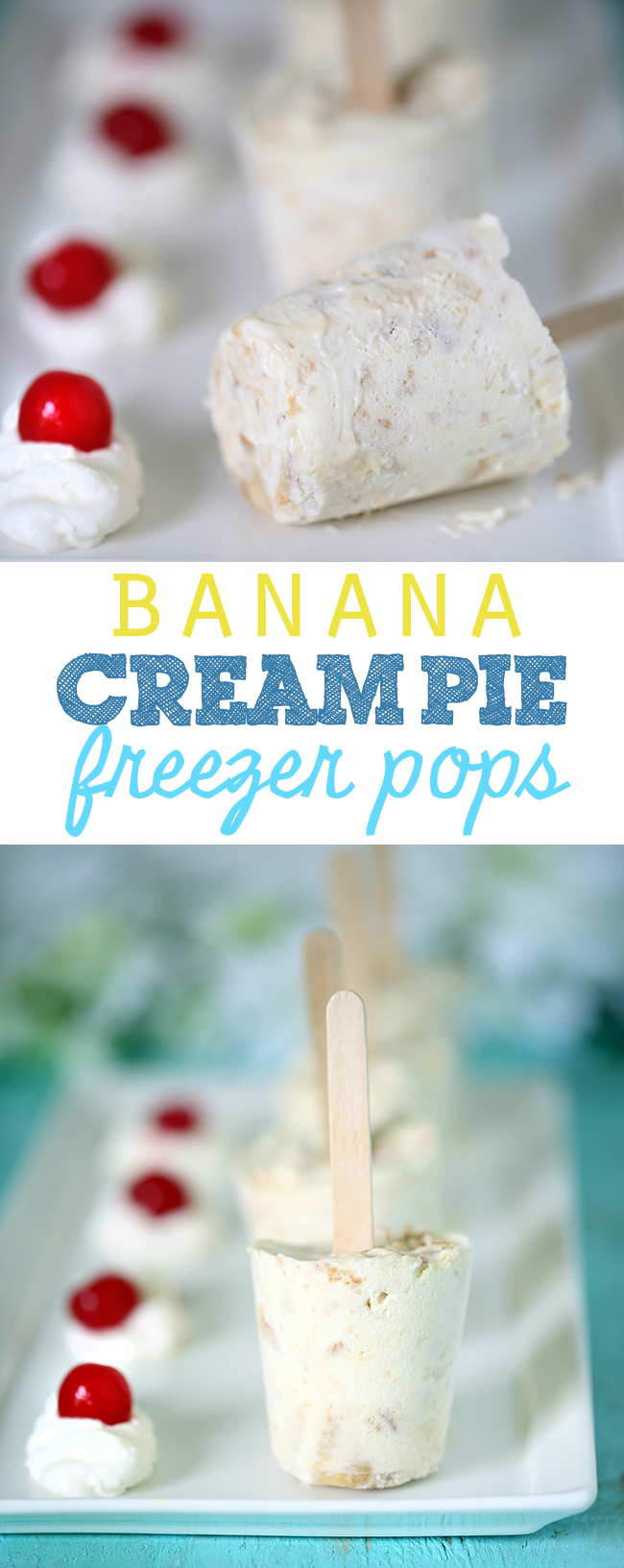 Easy to make banana cream pie pops that taste like a decadent dessert on a stick. Mmm!