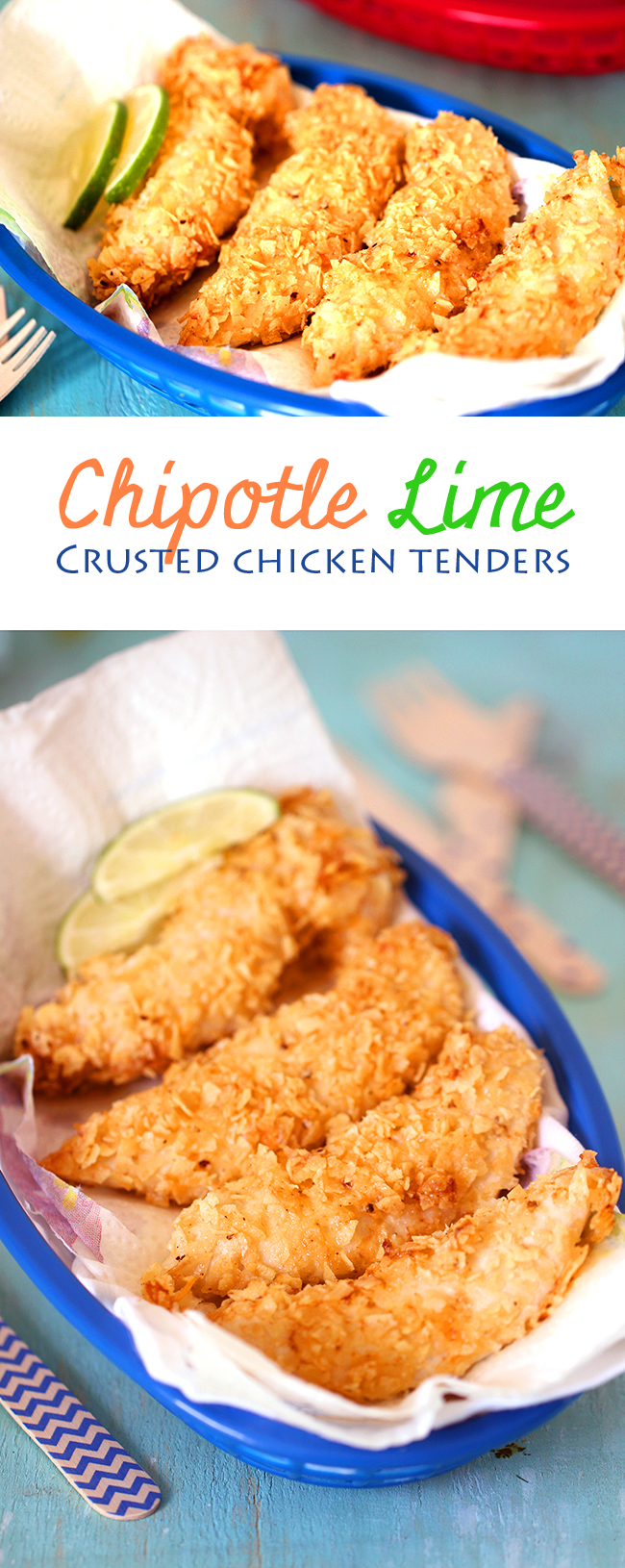 Take it from blah to FIESTA time with these knock your socks off Chipotle Lime Crushed Chicken Tenders. Bake in only 20 mins! Woot!