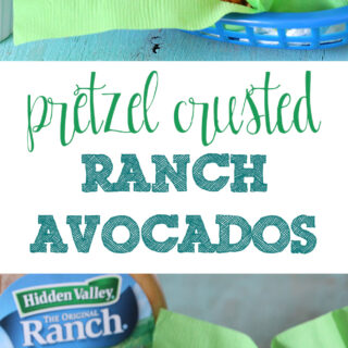 Yes please! Baked avocados dipped in ranch and a pretzel crust. YUM!