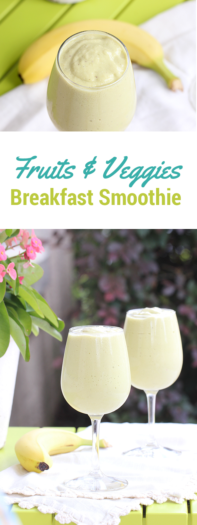 Need a quick fix for breakfast? Try this easy and delish breakfast smoothie with fruits & veggies!