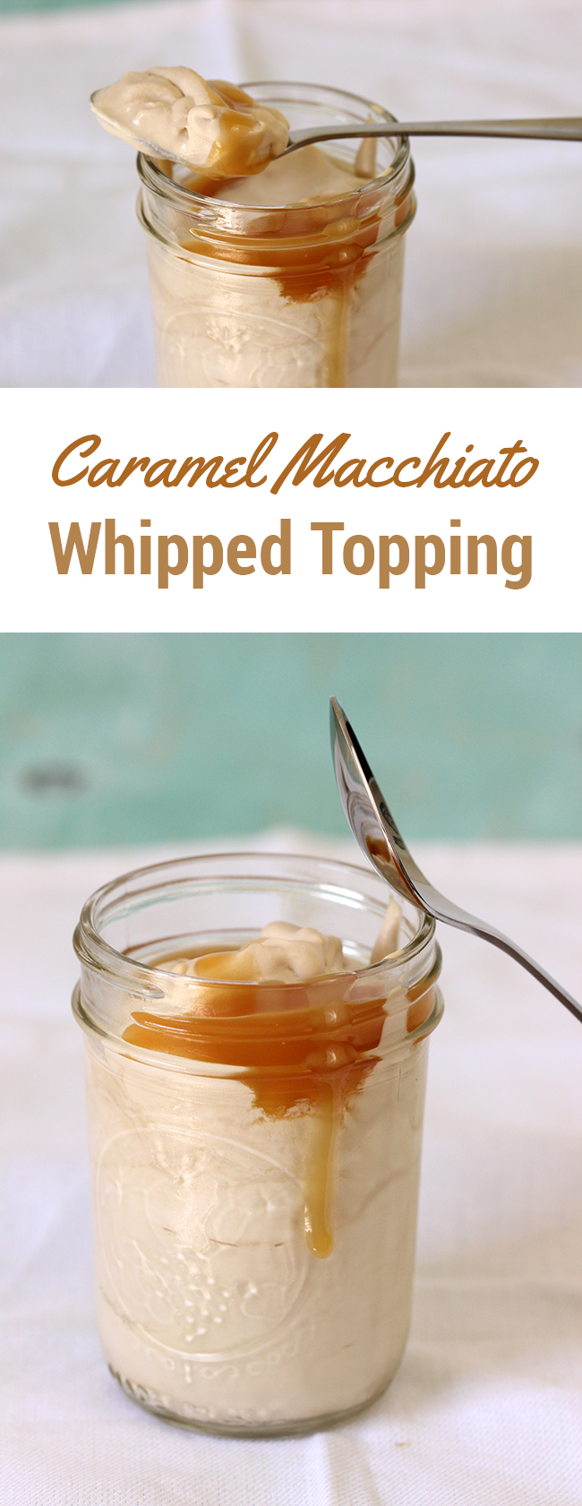 Whoa! Drool alert! Make Caramel Macchiato Whipped Topping with just a few simple ingredients. MUST put this on my coffee!