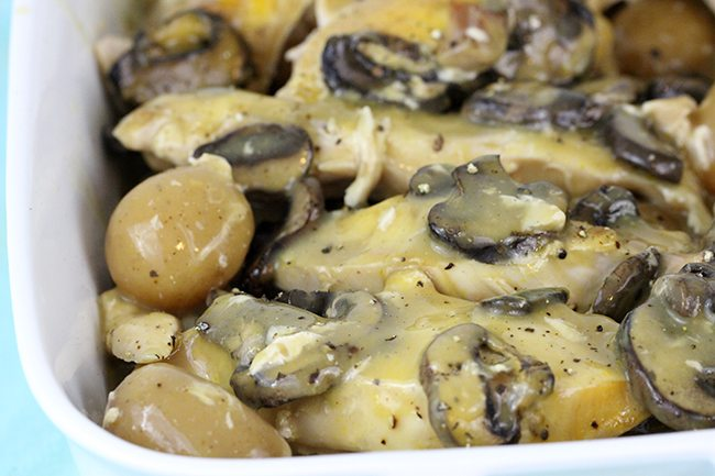 Amazingly simple to make slow cooker recipes packed with chicken, portobella mushrooms and potatoes. Total comfort food!