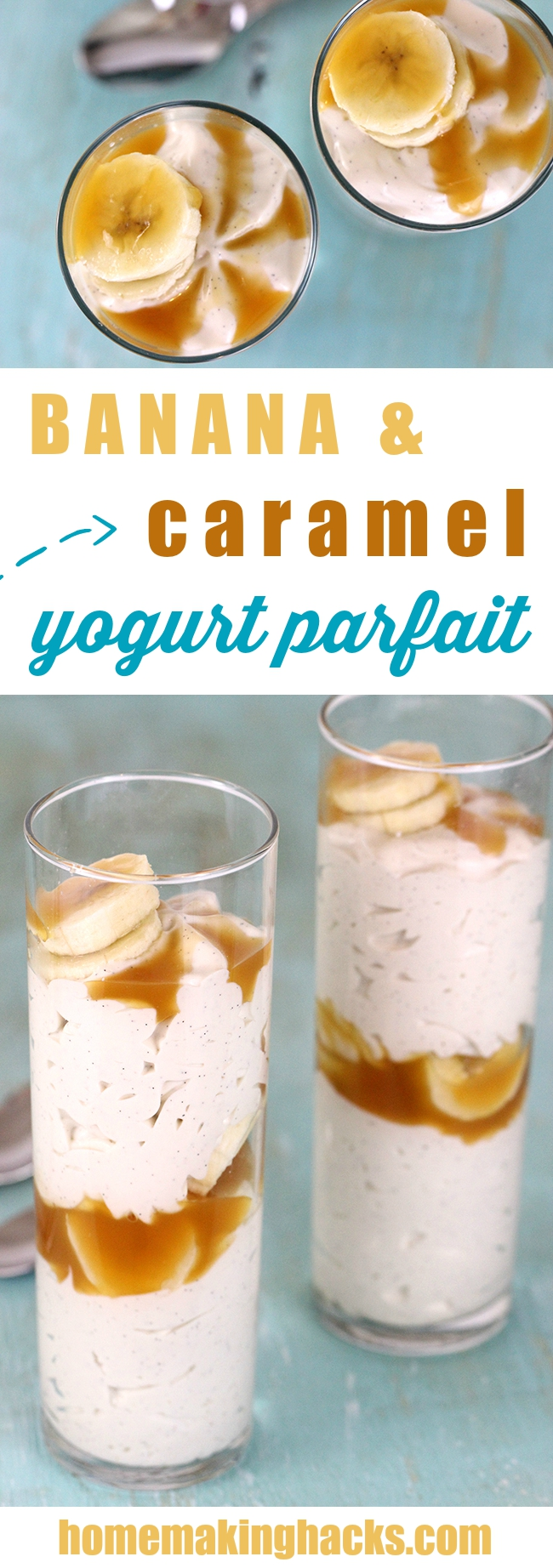 Need a quick dessert? This is the it! Simply layer sliced bananas, drizzle caramel and vanilla yogurt!