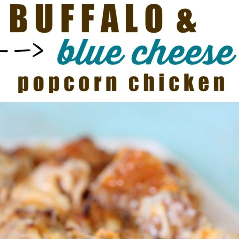 Ooey gooey popcorn chicken made with game day in mind. Buffalo Sauce, Creamy Blue Cheese and Mozz Cheese make this irresistible !