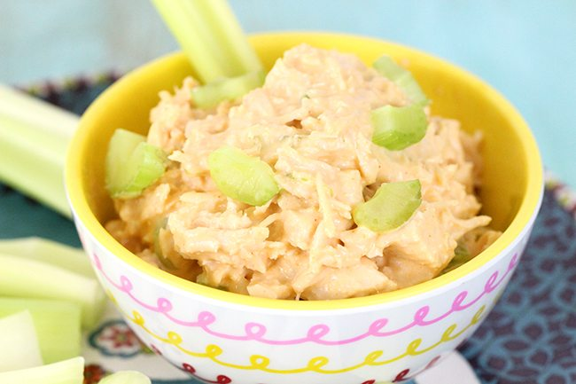 Craving unique - but EASY lunches or snacks? Check out this 4 ingredient buffalo chicken salad!
