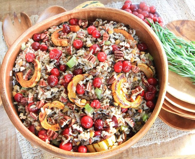 Cranberry-and-Squash-Wild-Rice-Salad-greens and chocolate