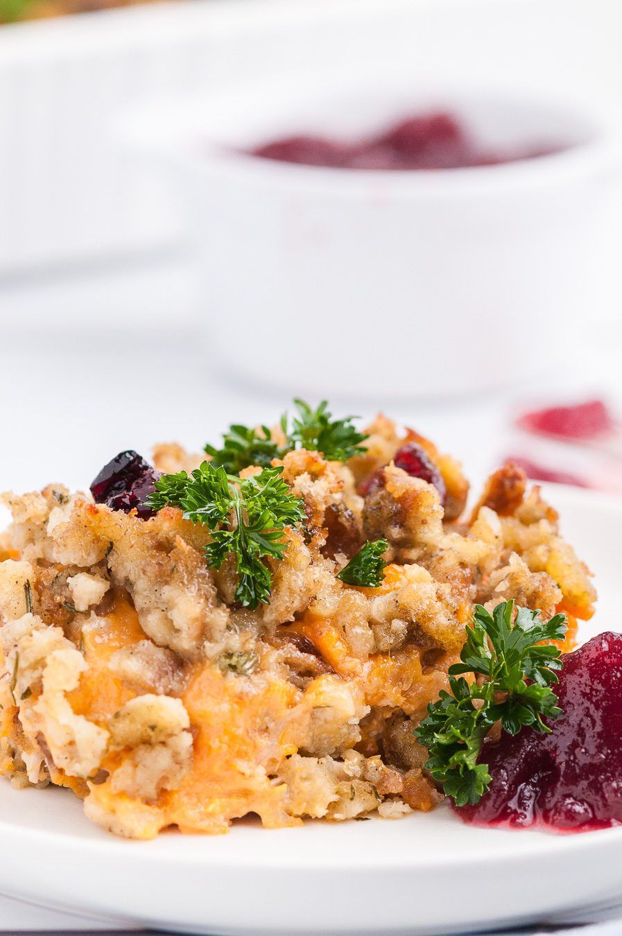 plated stuffing casserole served with garnish
