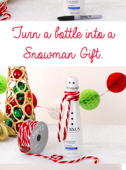 Turn a shampoo bottle into a snowman gift. Super simple DIY.