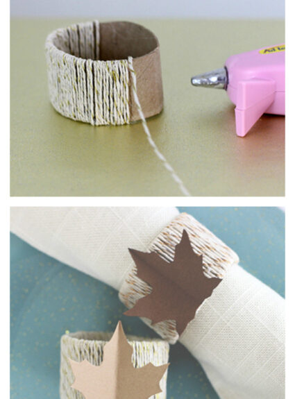 What to do with those toilet paper rolls? Turn them into something fantastic liked napkin rings.