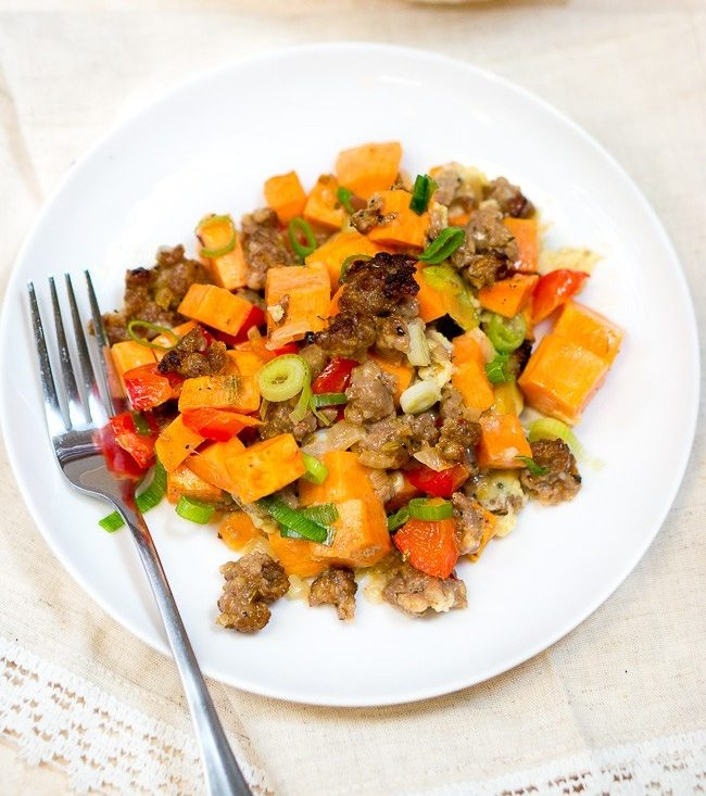 Sweet-Potato-Sausage-and-Egg-Breakfast-Casserole-deliiociusmeets healthy