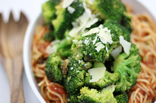 Easiest delish packed with flavor. Sauteed garlic broccoli on spaghetti & sauce. Unexpected goodness.