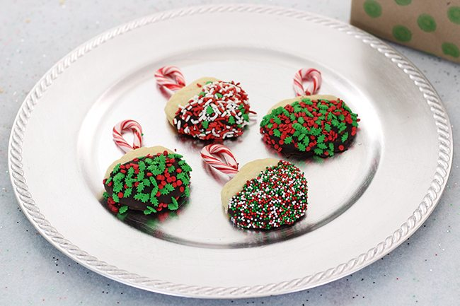 Easy Ornament Cookies with the most amazing melted dipping chocolate shortcut!